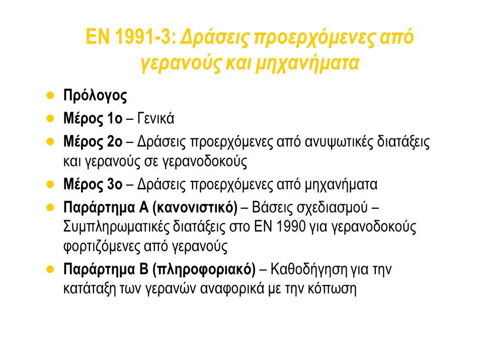 ΕΝ 1991-3: Δράσεις προερχόμενες από γερανούς και μηχανήματα Πρόλογος Μέρος 1ο – Γενικά Μέρος 2ο – Δράσεις προερχόμενες από ανυψωτικές διατάξεις και γε