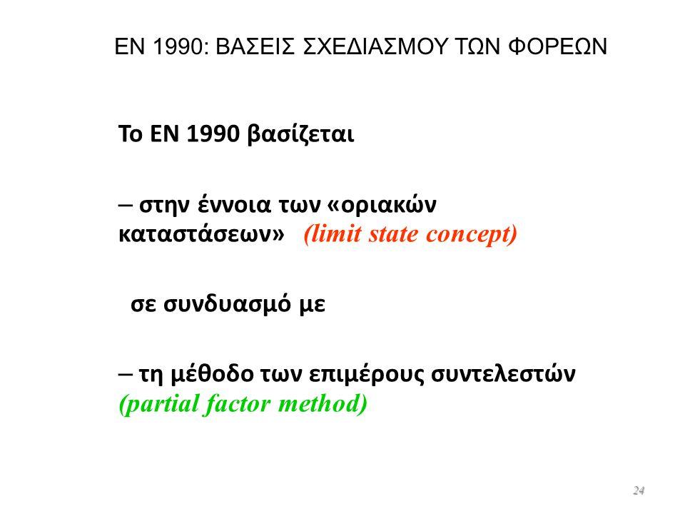 24 EN 1990: ΒΑΣΕΙΣ ΣΧΕΔΙΑΣΜΟΥ ΤΩΝ ΦΟΡΕΩΝ Το EN 1990 βασίζεται – στην έννοια των «οριακών καταστάσεων» (limit state concept) σε συνδυασμό με – τη μέθοδ