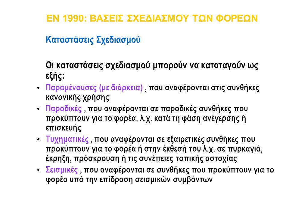 EN 1990: ΒΑΣΕΙΣ ΣΧΕΔΙΑΣΜΟΥ ΤΩΝ ΦΟΡΕΩΝ Καταστάσεις Σχεδιασμού Οι καταστάσεις σχεδιασμού μπορούν να καταταγούν ως εξής:  Παραμένουσες (με διάρκεια), πο