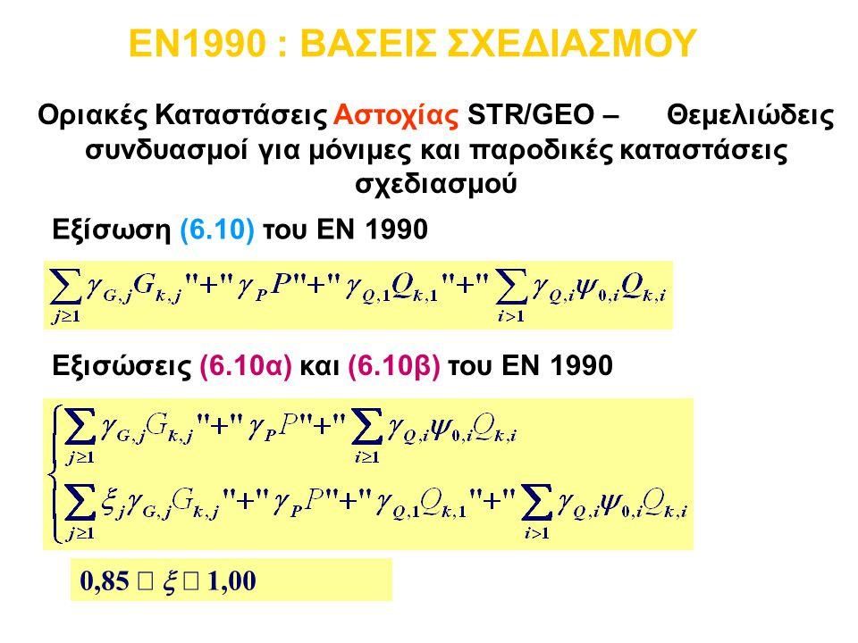 Εξίσωση (6.10) του EN 1990 Εξισώσεις (6.10α) και (6.10β) του EN 1990 Οριακές Καταστάσεις Αστοχίας STR/GEO – Θεμελιώδεις συνδυασμοί για μόνιμες και παρ