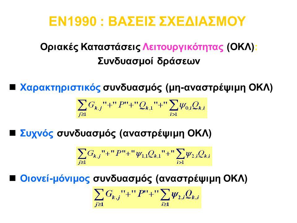 Οριακές Καταστάσεις Λειτουργικότητας (ΟΚΛ): Συνδυασμοί δράσεων nΧαρακτηριστικός συνδυασμός (μη-αναστρέψιμη ΟΚΛ) nΣυχνός συνδυασμός (αναστρέψιμη ΟΚΛ) n