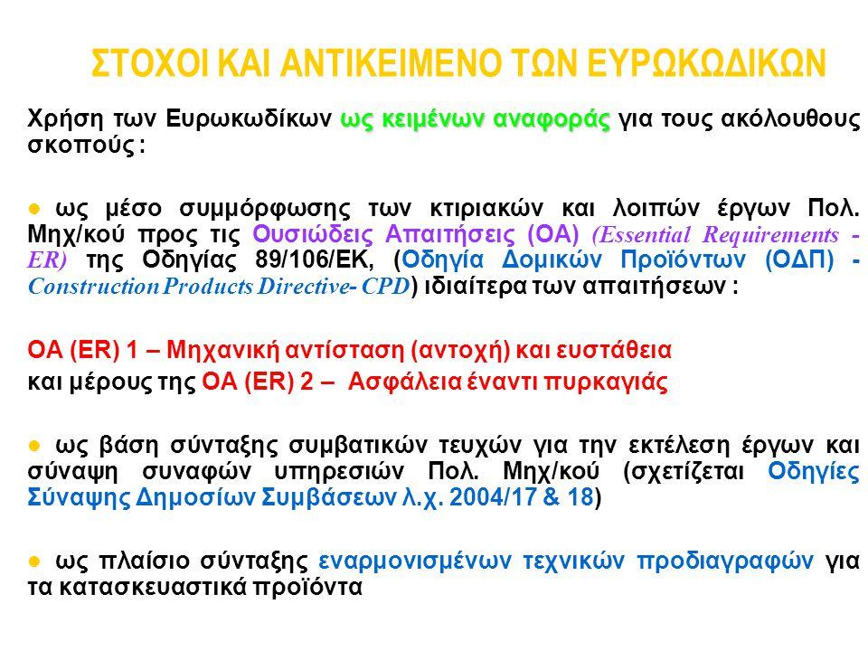 ΣΤΟΧΟΙ ΚΑΙ ΑΝΤΙΚΕΙΜΕΝΟ ΤΩΝ ΕΥΡΩΚΩΔΙΚΩΝ ως κειμένων αναφοράς Χρήση των Ευρωκωδίκων ως κειμένων αναφοράς για τους ακόλουθους σκοπούς : ως μέσο συμμόρφωσ