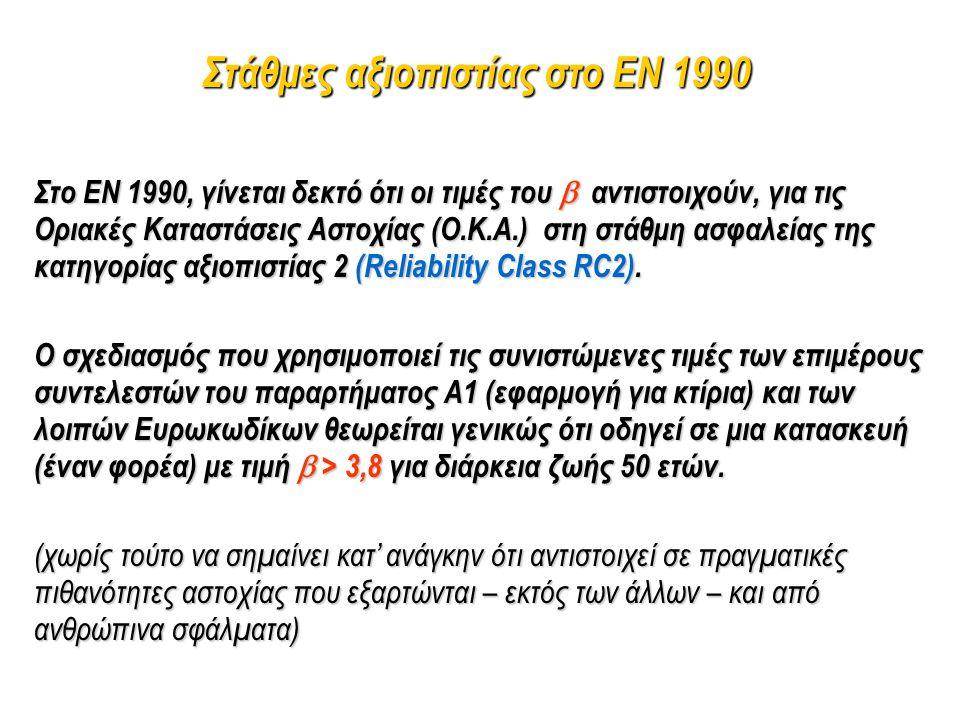 Στο EN 1990, γίνεται δεκτό ότι οι τιμές του  αντιστοιχούν, για τις Οριακές Καταστάσεις Αστοχίας (Ο.Κ.Α.) στη στάθμη ασφαλείας της κατηγορίας αξιοπιστ