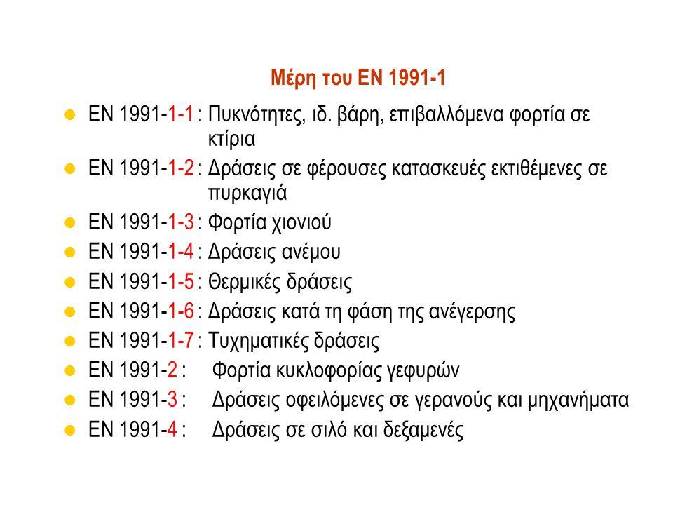 Μέρη του EN 1991-1 EN 1991-1-1 : Πυκνότητες, ιδ. βάρη, επιβαλλόμενα φορτία σε κτίρια EN 1991-1-2 : Δράσεις σε φέρουσες κατασκευές εκτιθέμενες σε πυρκα