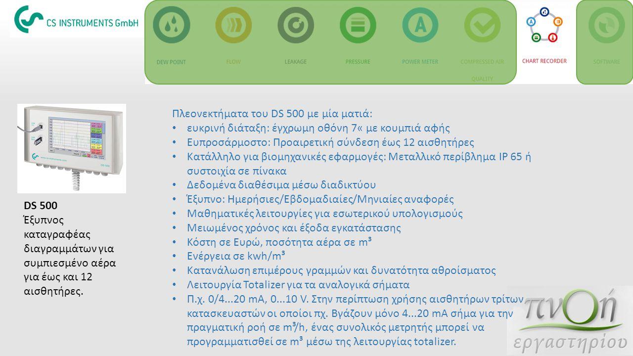 DS 500 Έξυπνος καταγραφέας διαγραμμάτων για συμπιεσμένο αέρα για έως και 12 αισθητήρες. Πλεονεκτήματα του DS 500 με μία ματιά: ευκρινή διάταξη: έγχρωμ