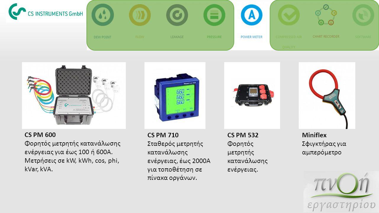 CS PM 600 Φορητός μετρητής κατανάλωσης ενέργειας για έως 100 ή 600Α. Μετρήσεις σε kW, kWh, cos, phi, kVar, kVA. CS PM 710 Σταθερός μετρητής κατανάλωση