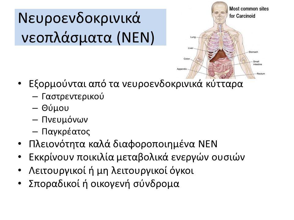 Νευροενδοκρινικά νεοπλάσματα (ΝΕΝ) Eξορμούνται από τα νευροενδοκρινικά κύτταρα – Γαστρεντερικού – Θύμου – Πνευμόνων – Παγκρέατος Πλειονότητα καλά διαφ