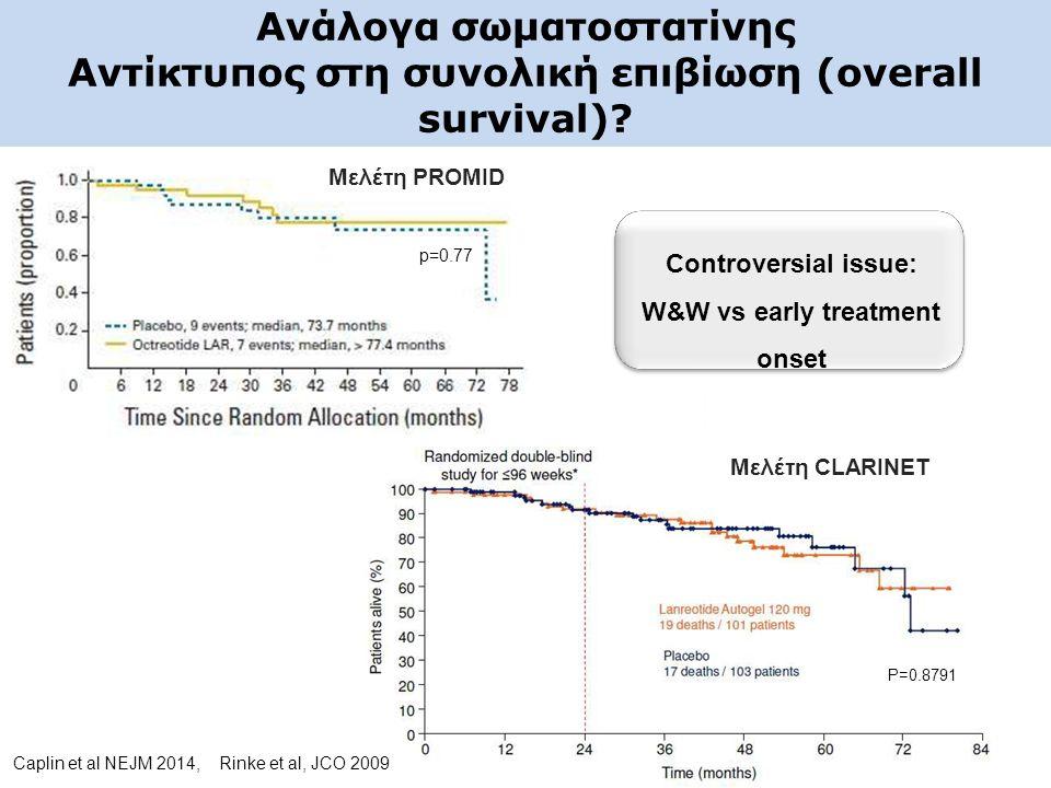 Ανάλογα σωματοστατίνης Αντίκτυπος στη συνολική επιβίωση (overall survival)? p=0.77 P=0.8791 Μελέτη PROMID Μελέτη CLARINET Controversial issue: W&W vs