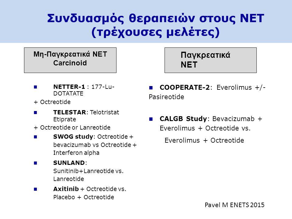 Συνδυασμός θεραπειών στους NET (τρέχουσες μελέτες) Μη-Παγκρεατικά NET Carcinoid NETTER-1 : 177-Lu- DOTATATE + Octreotide TELESTAR: Telotristat Etiprat