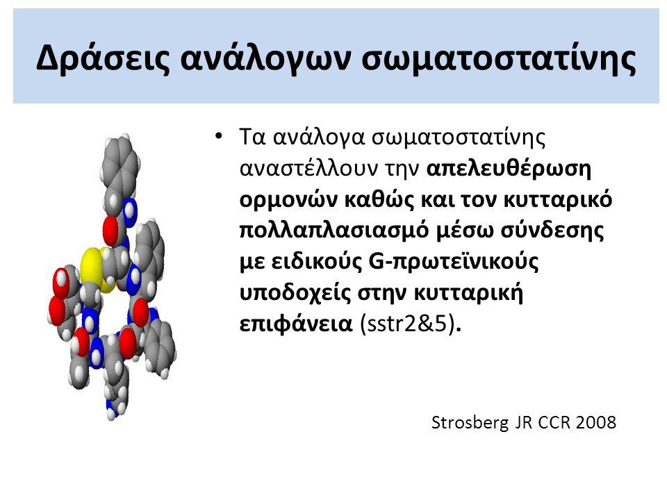 Τα ανάλογα σωματοστατίνης αναστέλλουν την απελευθέρωση ορμονών καθώς και τoν κυτταρικό πολλαπλασιασμό μέσω σύνδεσης με ειδικούς G-πρωτεϊνικούς υποδοχε