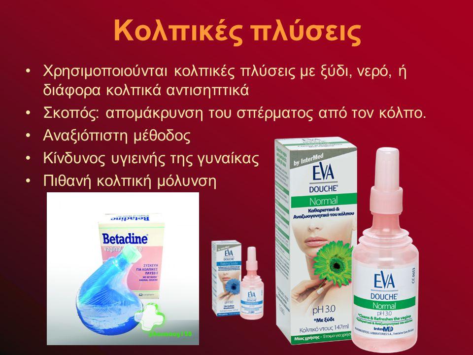 Κολπικές πλύσεις Χρησιμοποιούνται κολπικές πλύσεις με ξύδι, νερό, ή διάφορα κολπικά αντισηπτικά Σκοπός: απομάκρυνση του σπέρματος από τον κόλπο.