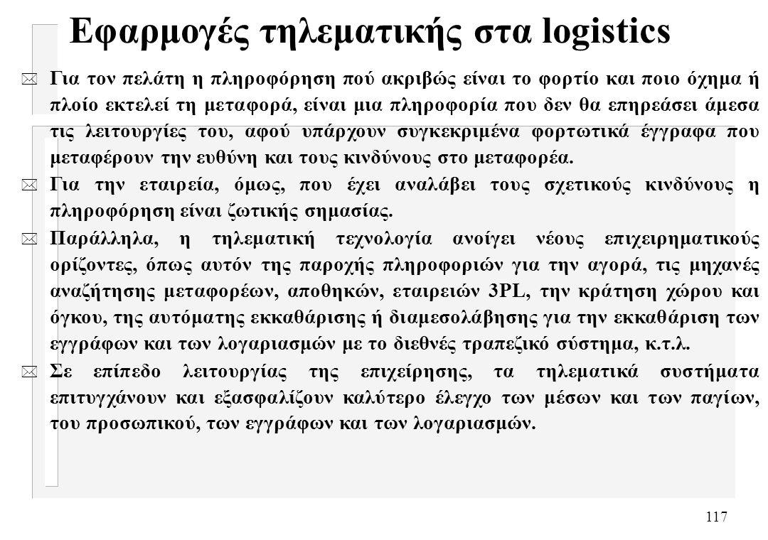 117 Εφαρμογές τηλεματικής στα logistics * Για τον πελάτη η πληροφόρηση πού ακριβώς είναι το φορτίο και ποιο όχημα ή πλοίο εκτελεί τη μεταφορά, είναι μ