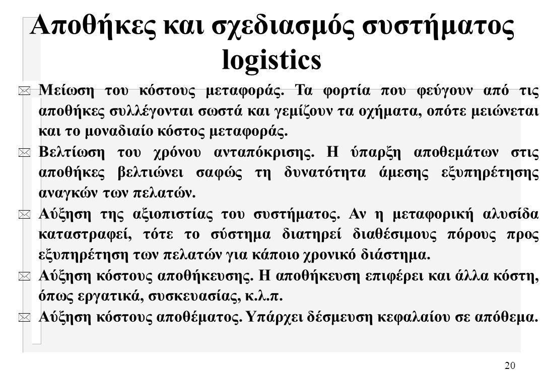 20 Αποθήκες και σχεδιασμός συστήματος logistics * Μείωση του κόστους μεταφοράς. Τα φορτία που φεύγουν από τις αποθήκες συλλέγονται σωστά και γεμίζουν