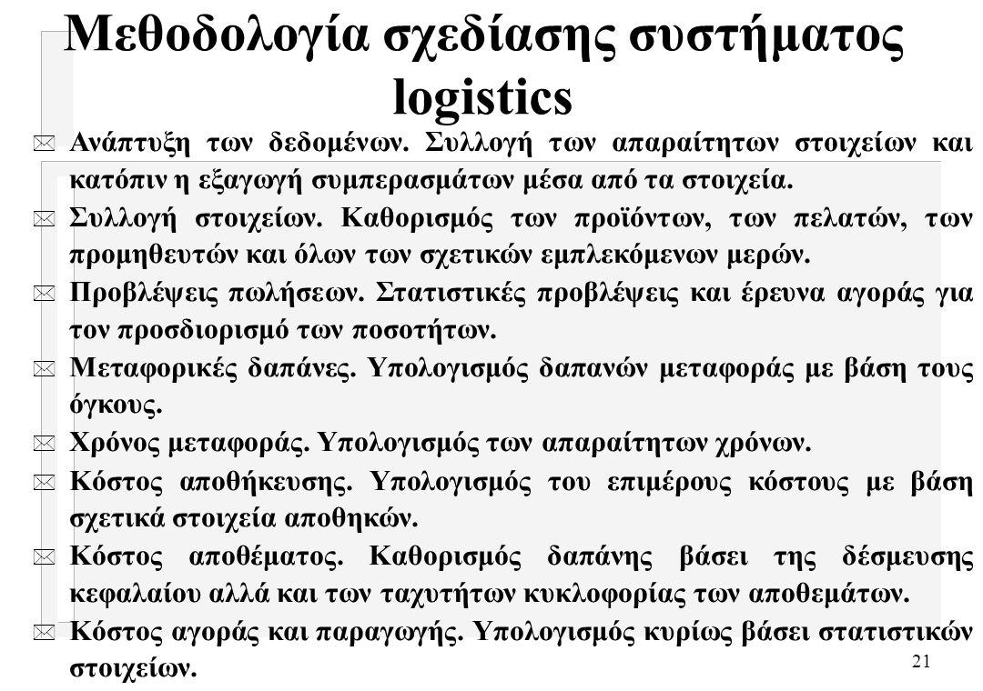 21 Μεθοδολογία σχεδίασης συστήματος logistics * Ανάπτυξη των δεδομένων. Συλλογή των απαραίτητων στοιχείων και κατόπιν η εξαγωγή συμπερασμάτων μέσα από