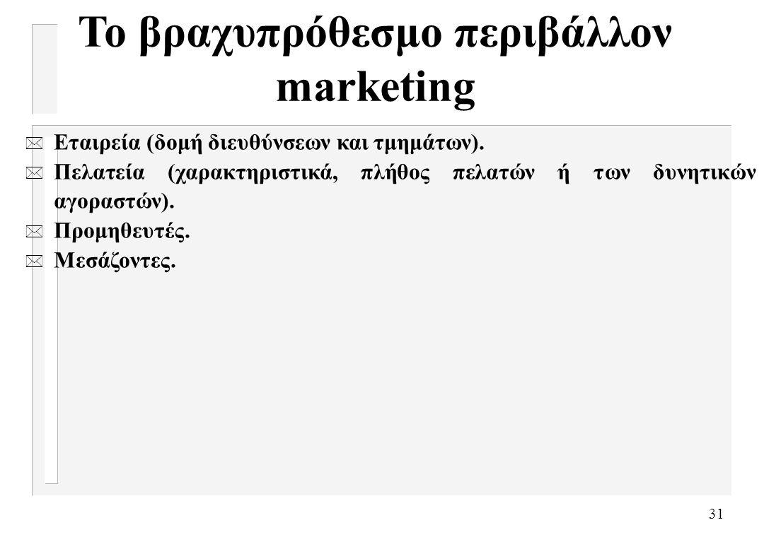 31 Το βραχυπρόθεσμο περιβάλλον marketing * Εταιρεία (δομή διευθύνσεων και τμημάτων). * Πελατεία (χαρακτηριστικά, πλήθος πελατών ή των δυνητικών αγορασ