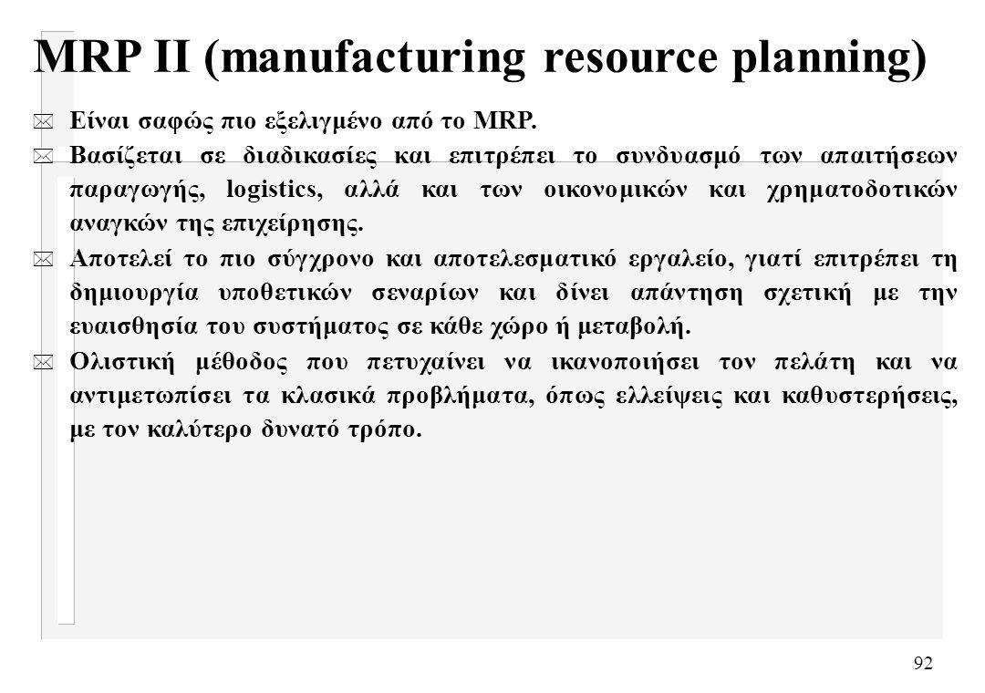 92 MRP II (manufacturing resource planning) * Είναι σαφώς πιο εξελιγμένο από το MRP. * Βασίζεται σε διαδικασίες και επιτρέπει το συνδυασμό των απαιτήσ