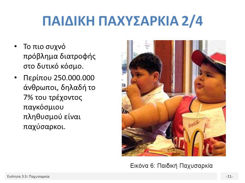 Ενότητα 3.5: Παχυσαρκία-11- ΠΑΙΔΙΚΗ ΠΑΧΥΣΑΡΚΙΑ 2/4 Το πιο συχνό πρόβλημα διατροφής στο δυτικό κόσμο. Περίπου 250.000.000 άνθρωποι, δηλαδή το 7% του τρ