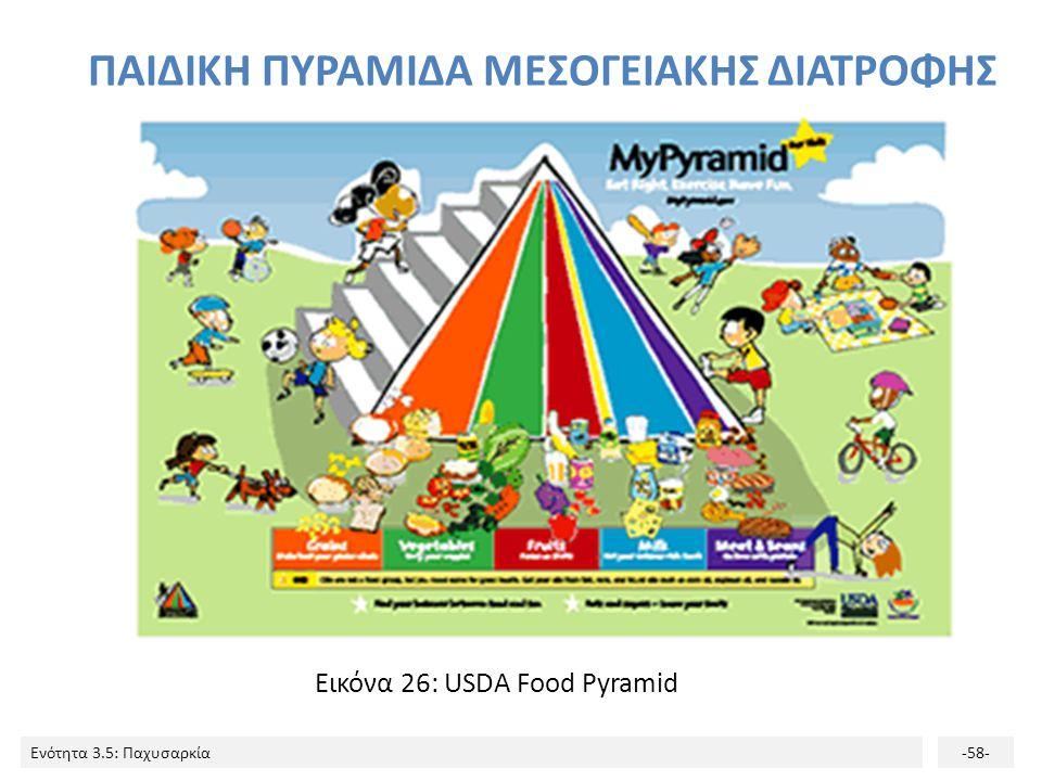 Ενότητα 3.5: Παχυσαρκία-58- ΠΑΙΔΙΚΗ ΠΥΡΑΜΙΔΑ ΜΕΣΟΓΕΙΑΚΗΣ ΔΙΑΤΡΟΦΗΣ Εικόνα 26: USDA Food Pyramid