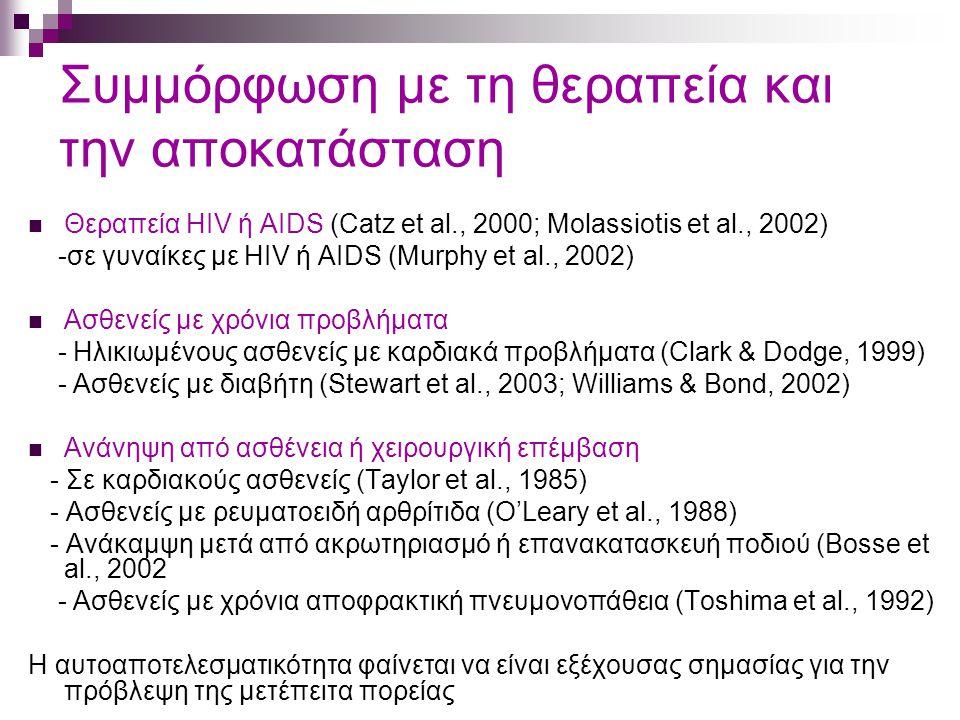 Συμμόρφωση με τη θεραπεία και την αποκατάσταση Θεραπεία HIV ή AIDS (Catz et al., 2000; Molassiotis et al., 2002) -σε γυναίκες με HIV ή AIDS (Murphy et al., 2002) Ασθενείς με χρόνια προβλήματα - Ηλικιωμένους ασθενείς με καρδιακά προβλήματα (Clark & Dodge, 1999) - Ασθενείς με διαβήτη (Stewart et al., 2003; Williams & Bond, 2002) Ανάνηψη από ασθένεια ή χειρουργική επέμβαση - Σε καρδιακούς ασθενείς (Taylor et al., 1985) - Ασθενείς με ρευματοειδή αρθρίτιδα (O'Leary et al., 1988) - Ανάκαμψη μετά από ακρωτηριασμό ή επανακατασκευή ποδιού (Bosse et al., 2002 - Ασθενείς με χρόνια αποφρακτική πνευμονοπάθεια (Toshima et al., 1992) Η αυτοαποτελεσματικότητα φαίνεται να είναι εξέχουσας σημασίας για την πρόβλεψη της μετέπειτα πορείας