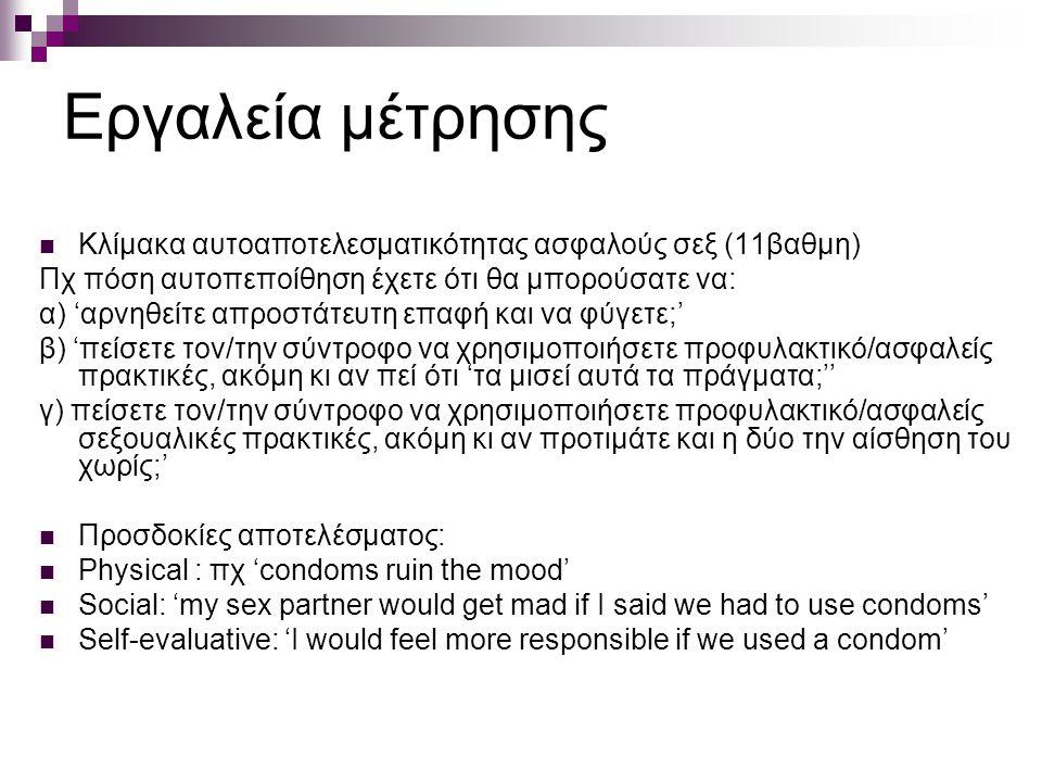 Εργαλεία μέτρησης Κλίμακα αυτοαποτελεσματικότητας ασφαλούς σεξ (11βαθμη) Πχ πόση αυτοπεποίθηση έχετε ότι θα μπορούσατε να: α) 'αρνηθείτε απροστάτευτη επαφή και να φύγετε;' β) 'πείσετε τον/την σύντροφο να χρησιμοποιήσετε προφυλακτικό/ασφαλείς πρακτικές, ακόμη κι αν πεί ότι 'τα μισεί αυτά τα πράγματα;'' γ) πείσετε τον/την σύντροφο να χρησιμοποιήσετε προφυλακτικό/ασφαλείς σεξουαλικές πρακτικές, ακόμη κι αν προτιμάτε και η δύο την αίσθηση του χωρίς;' Προσδοκίες αποτελέσματος: Physical : πχ 'condoms ruin the mood' Social: 'my sex partner would get mad if I said we had to use condoms' Self-evaluative: 'I would feel more responsible if we used a condom'