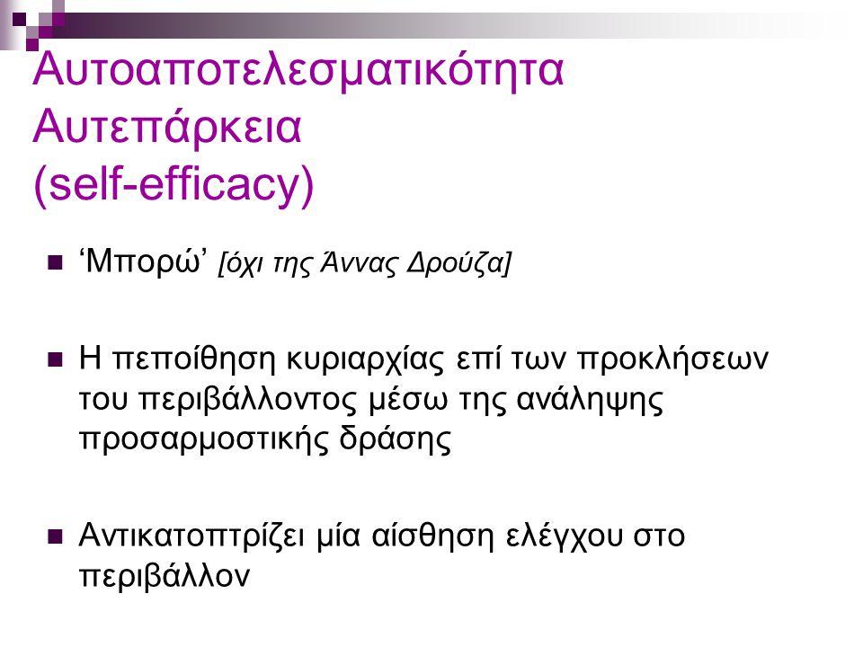 Αυτοαποτελεσματικότητα Αυτεπάρκεια (self-efficacy) 'Μπορώ' [όχι της Άννας Δρούζα] Η πεποίθηση κυριαρχίας επί των προκλήσεων του περιβάλλοντος μέσω της ανάληψης προσαρμοστικής δράσης Αντικατοπτρίζει μία αίσθηση ελέγχου στο περιβάλλον