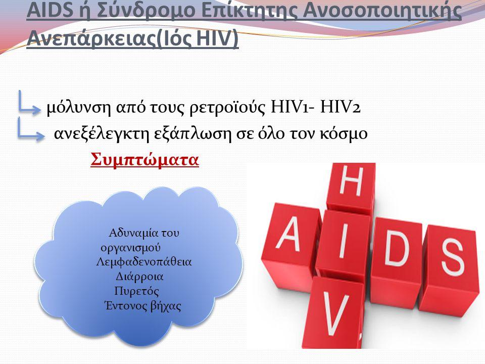 AIDS ή Σύνδρομο Επίκτητης Ανοσοποιητικής Ανεπάρκειας(Ιός HIV) μόλυνση από τους ρετροϊούς HIV1- HIV2 ανεξέλεγκτη εξάπλωση σε όλο τον κόσμο Συμπτώματα Α