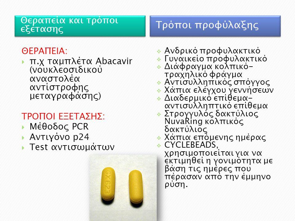 Θεραπεία και τρόποι εξέτασης Τρόποι προφύλαξης ΘΕΡΑΠΕΙΑ:  π.χ ταμπλέτα Abacavir (νουκλεοσιδικού αναστολέα αντίστροφης μεταγραφάσης) ΤΡΟΠΟΙ ΕΞΕΤΑΣΗΣ: