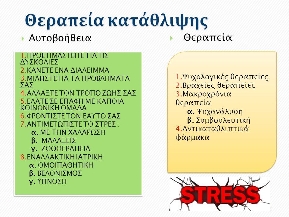 Αυτοβοήθεια  Θεραπεία 1.Ψυχολογικές θεραπείες 2.Βραχείες θεραπείες 3.Μακροχρόνια θεραπεία α. Ψυχανάλυση β. Συμβουλευτική 4.Αντικαταθλιπτικά φάρμακα