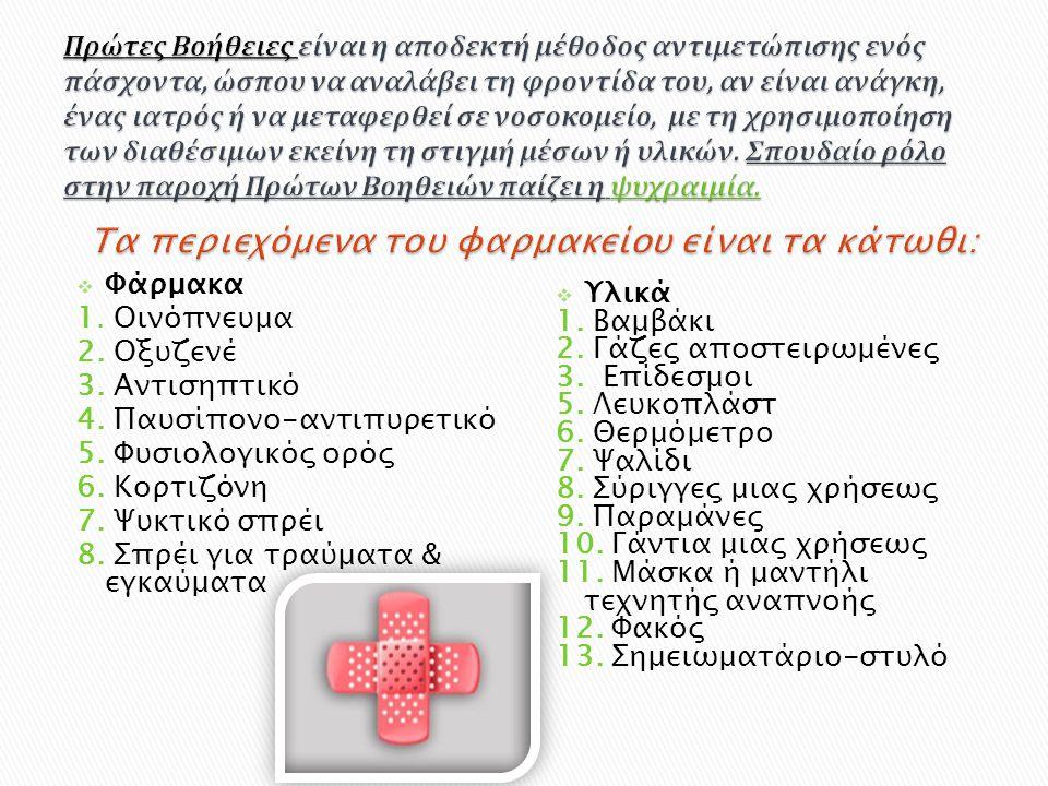 Φάρμακα 1. Οινόπνευμα 2. Οξυζενέ 3. Αντισηπτικό 4. Παυσίπονο-αντιπυρετικό 5. Φυσιολογικός ορός 6. Κορτιζόνη 7. Ψυκτικό σπρέι 8. Σπρέι για τραύματα &