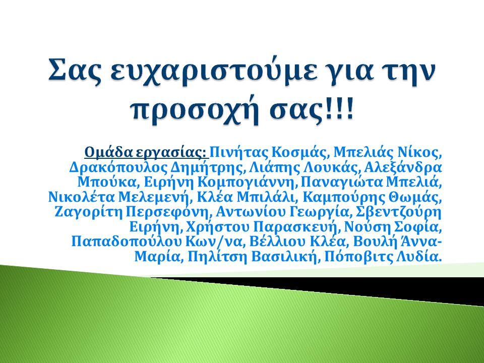 Ομάδα εργασίας: Πινήτας Κοσμάς, Μπελιάς Νίκος, Δρακόπουλος Δημήτρης, Λιάπης Λουκάς, Αλεξάνδρα Μπούκα, Ειρήνη Κομπογιάννη, Παναγιώτα Μπελιά, Νικολέτα Μ