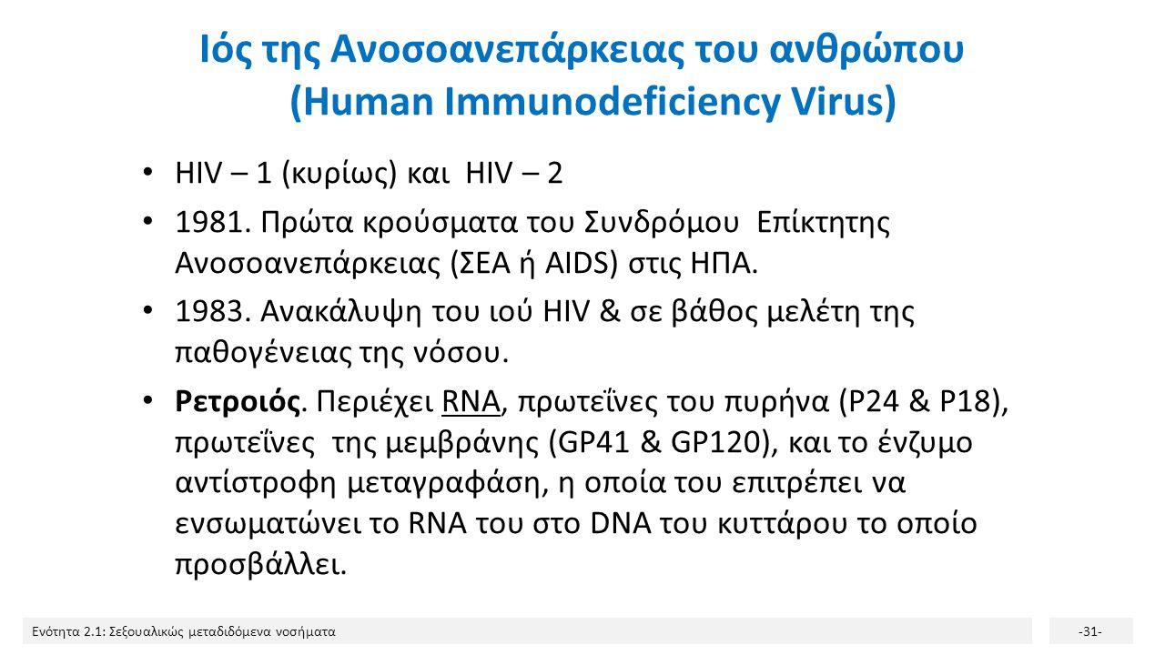 Ενότητα 2.1: Σεξουαλικώς μεταδιδόμενα νοσήματα-31- Ιός της Ανοσοανεπάρκειας του ανθρώπου (Human Immunodeficiency Virus) HIV – 1 (κυρίως) και HIV – 2 1