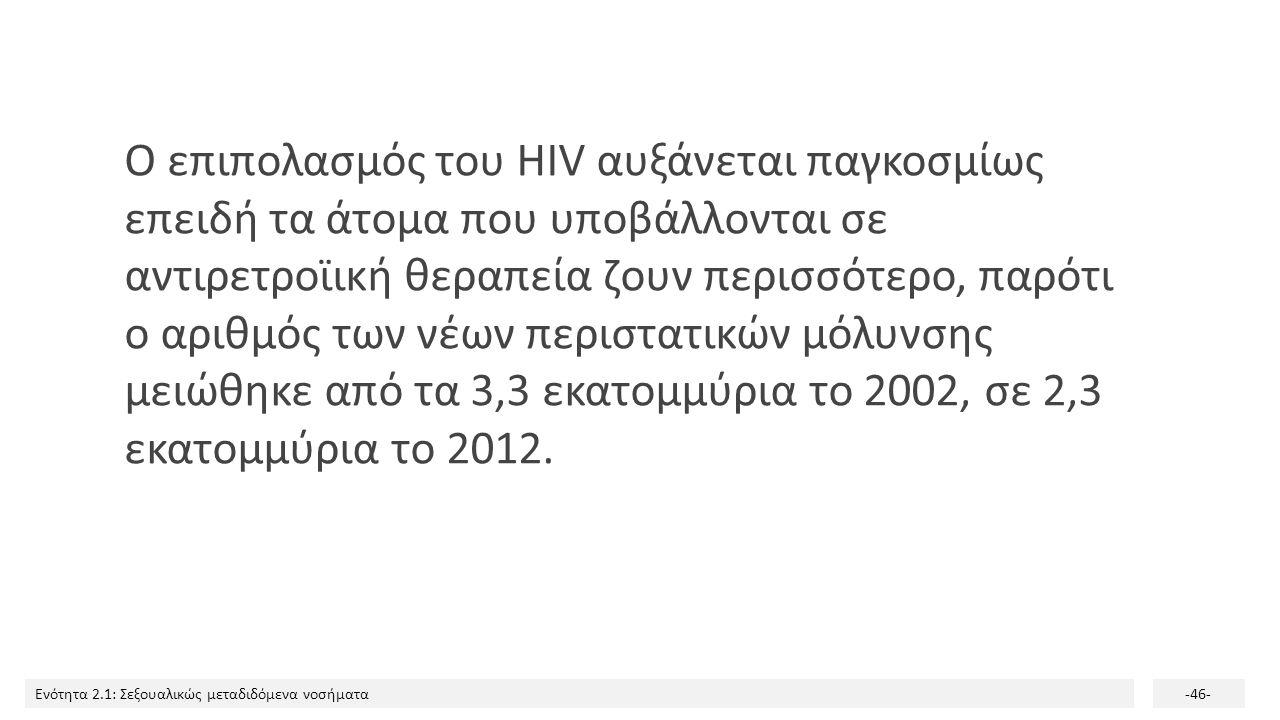 Ενότητα 2.1: Σεξουαλικώς μεταδιδόμενα νοσήματα-46- Ο επιπολασμός του HIV αυξάνεται παγκοσμίως επειδή τα άτομα που υποβάλλονται σε αντιρετροϊική θεραπε