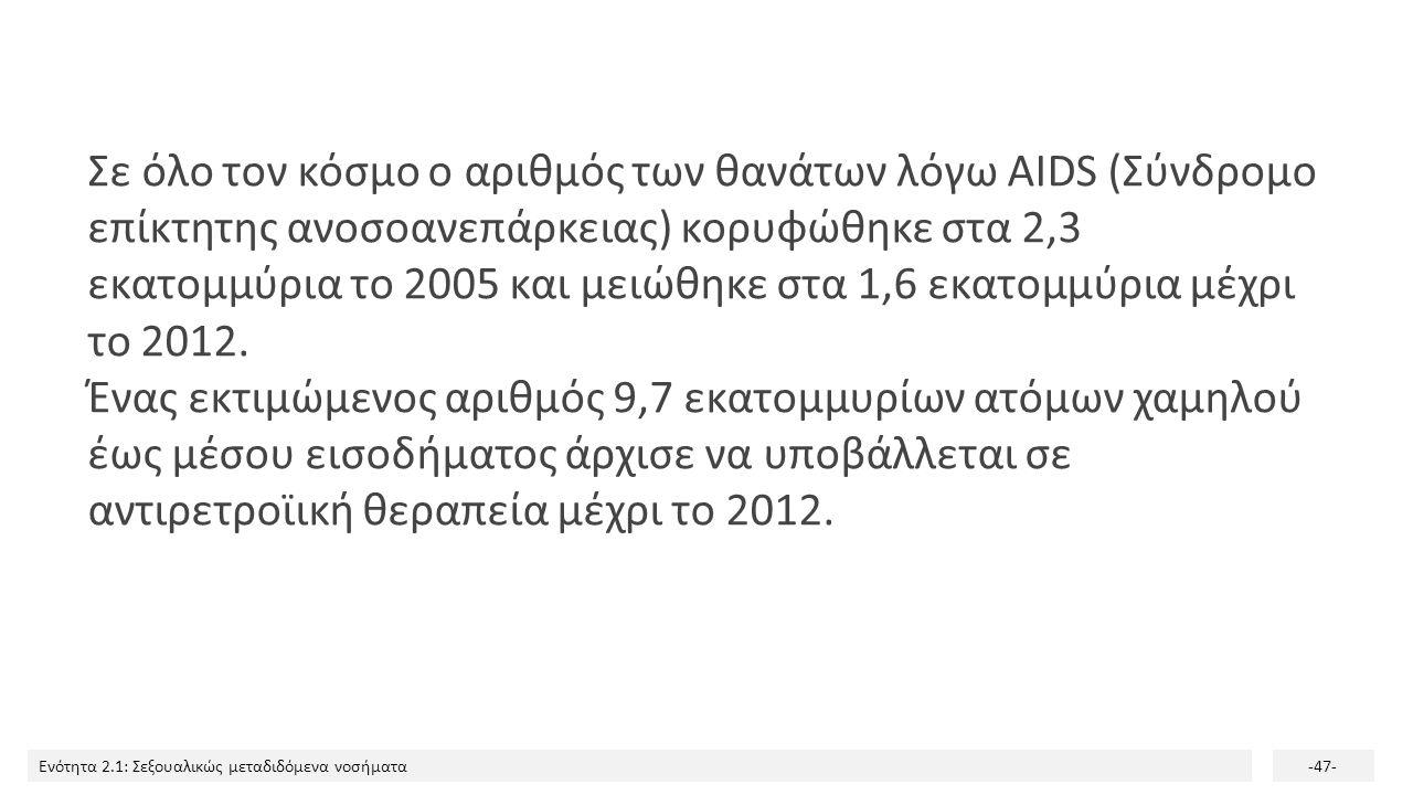 Ενότητα 2.1: Σεξουαλικώς μεταδιδόμενα νοσήματα-47- Σε όλο τον κόσμο ο αριθμός των θανάτων λόγω AIDS (Σύνδρομο επίκτητης ανοσοανεπάρκειας) κορυφώθηκε σ