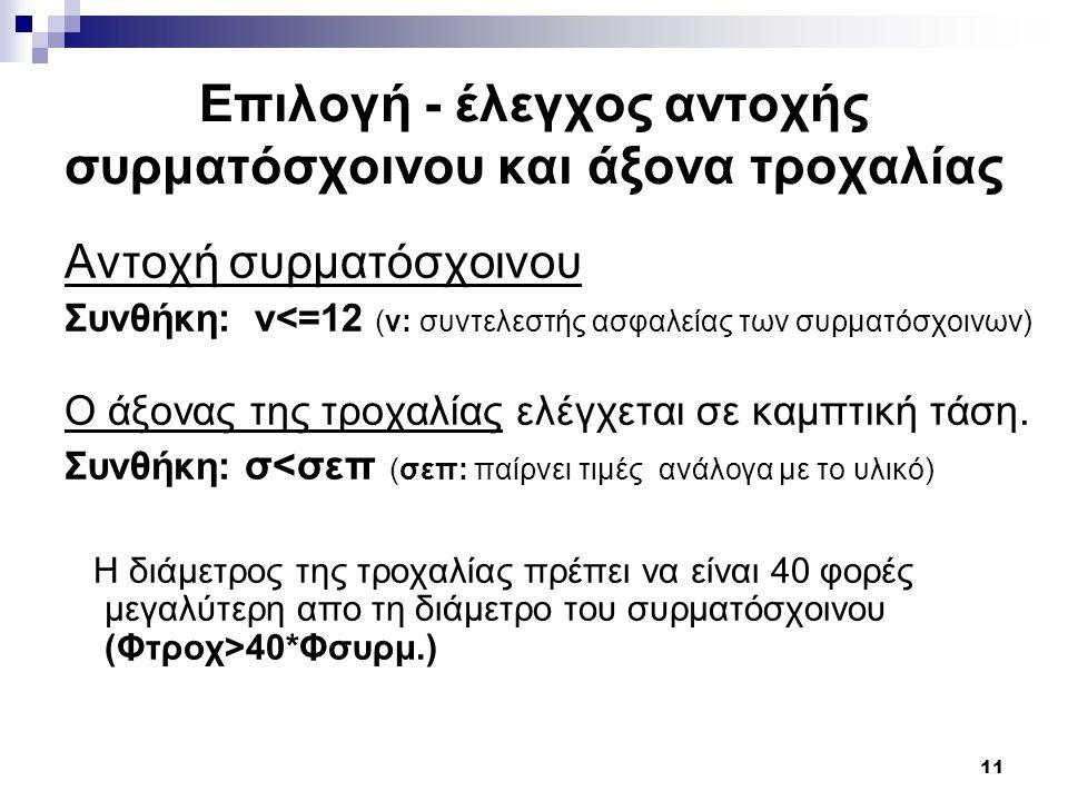11 Επιλογή - έλεγχος αντοχής συρματόσχοινου και άξονα τροχαλίας Αντοχή συρματόσχοινου Συνθήκη: ν<=12 (ν: συντελεστής ασφαλείας των συρματόσχοινων) Ο ά