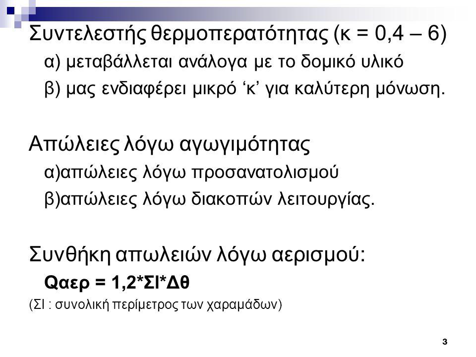 4 Επιλογή θερμαντικών σωμάτων Η επιλογή γίνεται βάση των θερμικών απωλειών του κάθε χώρου Τύποι θερμαντικών σωμάτων: α) PANEL (χαρακτηριστικά μεγέθη το ύψος, το μήκος, τον αριθμό των φετών, των μαιάνδρων - τοποθετούνται 11 πόντους από το έδαφος) β) ΑΚΑΝ γ) RUNTAL