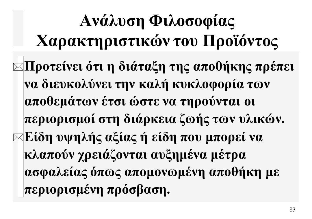 83 Ανάλυση Φιλοσοφίας Χαρακτηριστικών του Προϊόντος * Προτείνει ότι η διάταξη της αποθήκης πρέπει να διευκολύνει την καλή κυκλοφορία των αποθεμάτων έτ