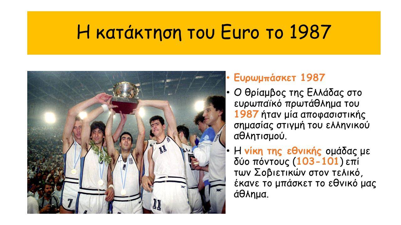 Η κατάκτηση του Euro το 1987 Ευρωμπάσκετ 1987 Ο θρίαμβος της Ελλάδας στο ευρωπαϊκό πρωτάθλημα του 1987 ήταν μία αποφασιστικής σημασίας στιγμή του ελλη