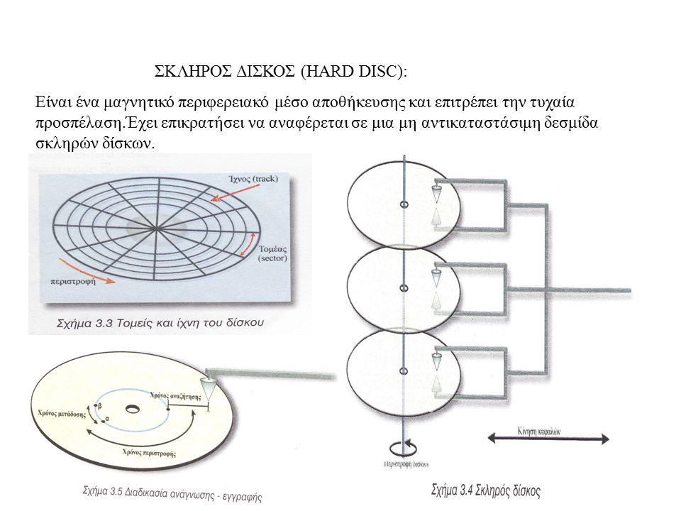 ΣΚΛΗΡΟΣ ΔΙΣΚΟΣ (HARD DISC): Είναι ένα μαγνητικό περιφερειακό μέσο αποθήκευσης και επιτρέπει την τυχαία προσπέλαση.Έχει επικρατήσει να αναφέρεται σε μι
