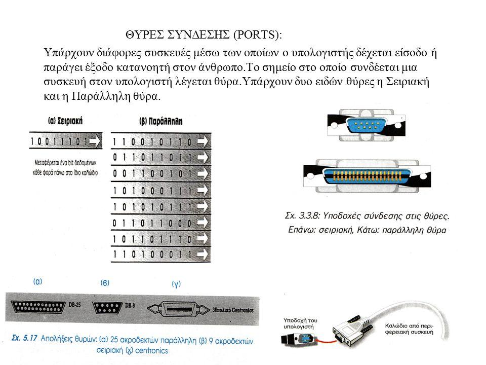 ΘΥΡΕΣ ΣΥΝΔΕΣΗΣ (PORTS): Υπάρχουν διάφορες συσκευές μέσω των οποίων ο υπολογιστής δέχεται είσοδο ή παράγει έξοδο κατανοητή στον άνθρωπο.Το σημείο στο ο