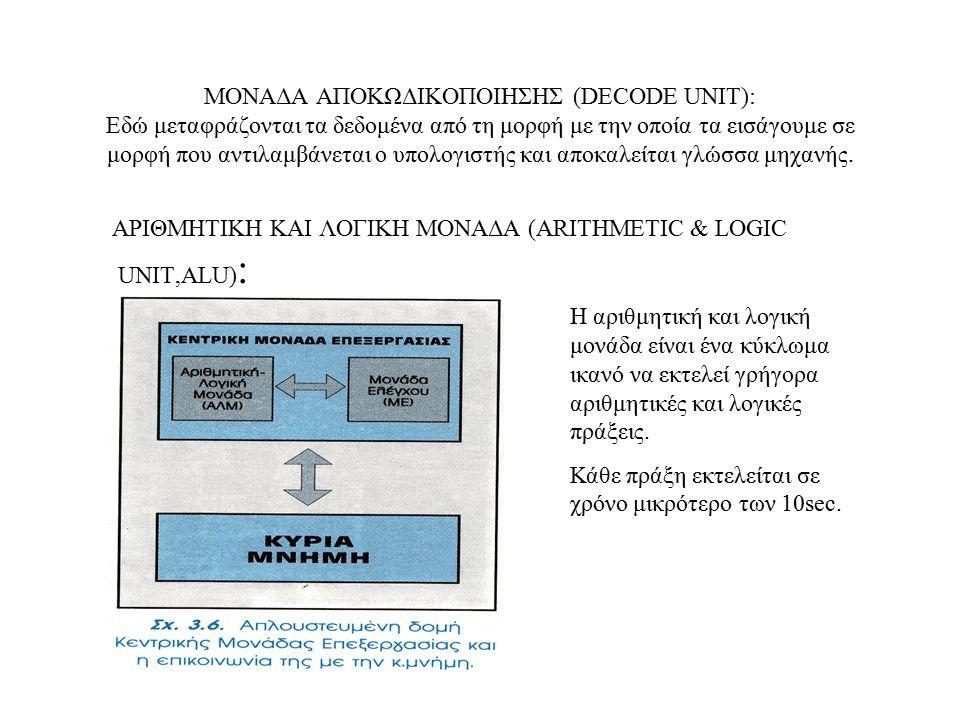 ΜΟΝΑΔΑ ΕΛΕΓΧΟΥ: Η μονάδα ελέγχου είναι αυτή που συγχρονίζει και καθοδηγεί τη λειτουργία του υπολογιστή, ανακαλεί από την κεντρική μνήμη εντολές, προσδιορίζει τον τύπο τους και αναθέτει στην αριθμητική και λογική μονάδα την εκτέλεση τους.