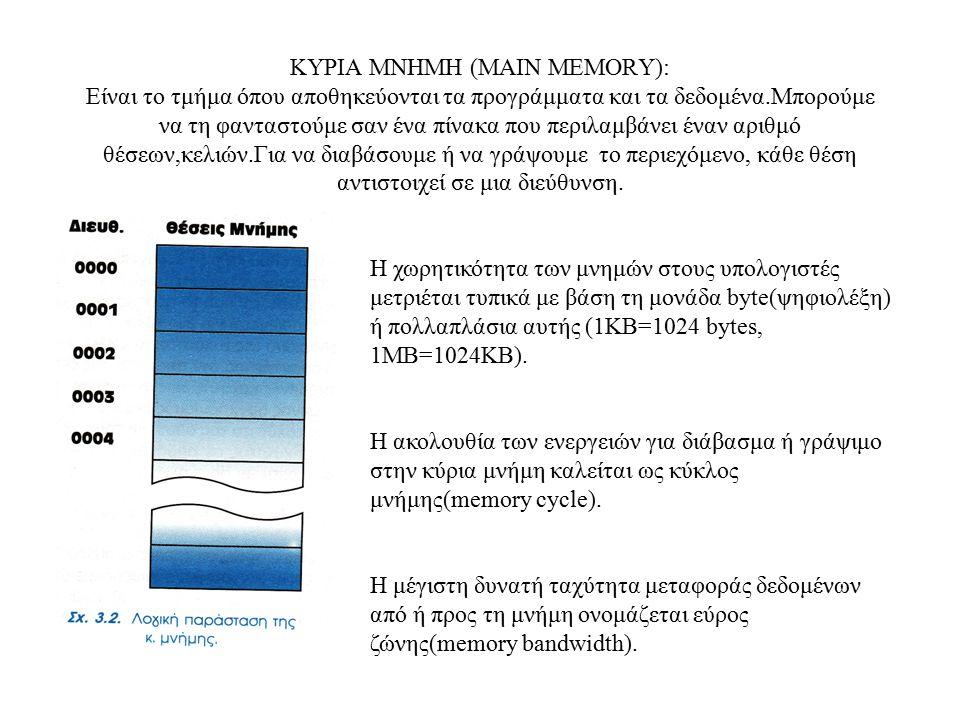 ΚΥΡΙΑ ΜΝΗΜΗ (MAIN MEMORY): Είναι το τμήμα όπου αποθηκεύονται τα προγράμματα και τα δεδομένα.Μπορούμε να τη φανταστούμε σαν ένα πίνακα που περιλαμβάνει