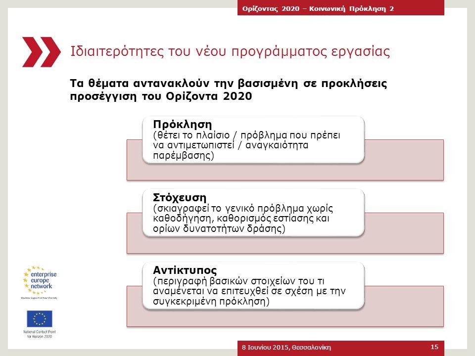 Ιδιαιτερότητες του νέου προγράμματος εργασίας Τα θέματα αντανακλούν την βασισμένη σε προκλήσεις προσέγγιση του Ορίζοντα 2020 8 Ιουνίου 2015, Θεσσαλονί