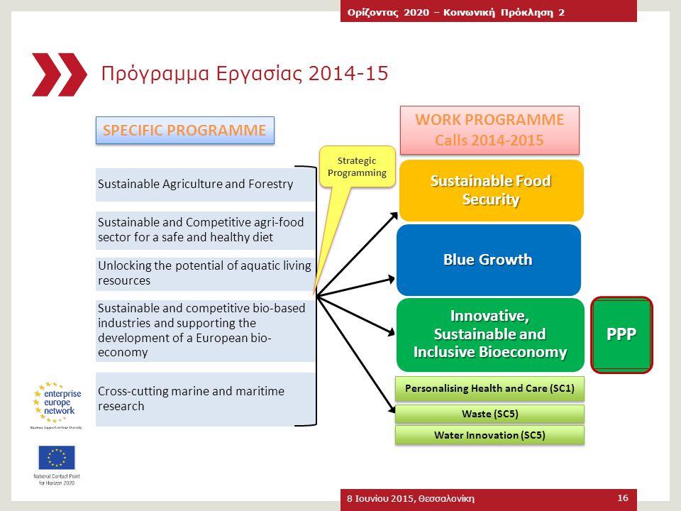 Πρόγραμμα Εργασίας 2014-15 8 Ιουνίου 2015, Θεσσαλονίκη Ορίζοντας 2020 – Κοινωνική Πρόκληση 2 16 WORK PROGRAMME Calls 2014-2015 WORK PROGRAMME Calls 20
