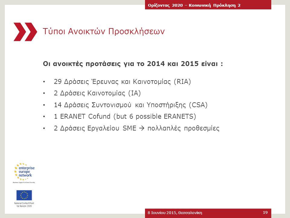 Τύποι Ανοικτών Προσκλήσεων 8 Ιουνίου 2015, Θεσσαλονίκη Ορίζοντας 2020 – Κοινωνική Πρόκληση 2 19 Οι ανοικτές προτάσεις για το 2014 και 2015 είναι : 29
