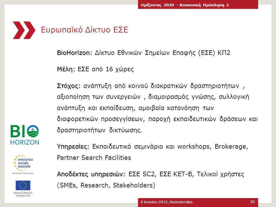 Ευρωπαϊκό Δίκτυο ΕΣΕ 8 Ιουνίου 2015, Θεσσαλονίκη Ορίζοντας 2020 – Κοινωνική Πρόκληση 2 30 BioHorizon: BioHorizon: Δίκτυο Εθνικών Σημείων Επαφής (ΕΣΕ)