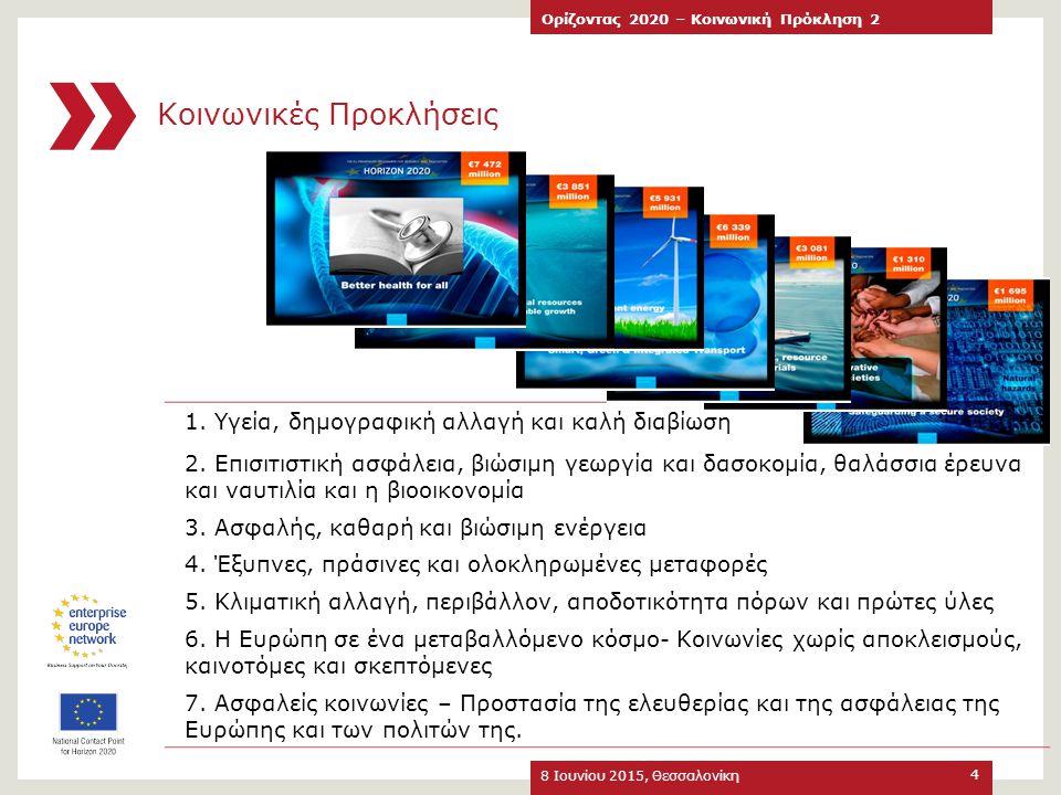 Συνοπτικά στατιστικά στοιχεία ελληνικής συμμετοχής στις προσκλήσεις του 2014 8 Ιουνίου 2015, Θεσσαλονίκη Ορίζοντας 2020 – Κοινωνική Πρόκληση 2 25 Υποβολή 1 ο στάδιο Επιτυχής αξιολόγηση 1 ου σταδίου Αξιολόγηση 2 ου σταδίου – Χρηματοδοτούμενα έργα Αριθμός Προτάσεων 39214526 Αριθμός Συμμετοχών N/A2552478 Αριθμός Ελληνικών Συμμετοχών N/A8017 Συμμετοχή (number of participations) SFS:H2020-SFS-2014-2