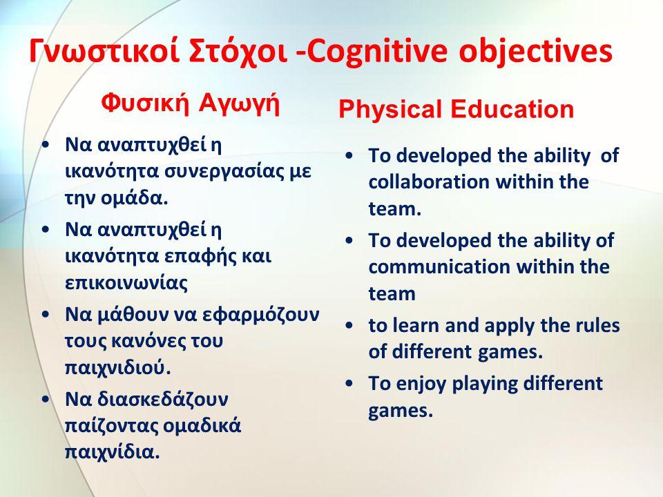 Γνωστικοί Στόχοι -Cognitive objectives Φυσική Αγωγή Να αναπτυχθεί η ικανότητα συνεργασίας με την ομάδα.