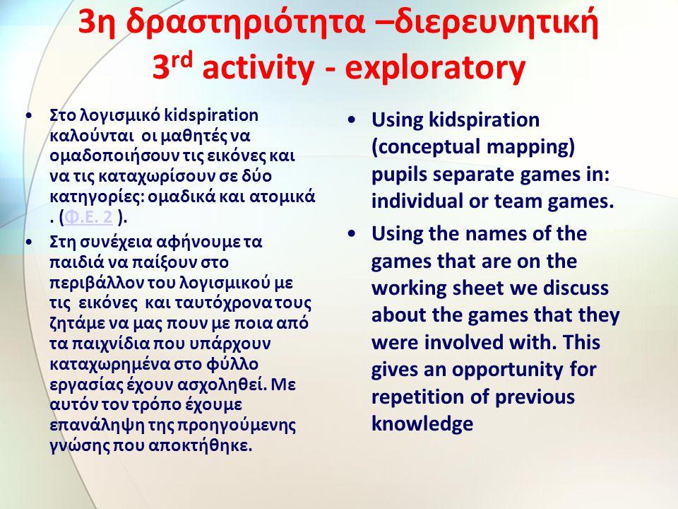 3η δραστηριότητα –διερευνητική 3 rd activity - exploratory Στο λογισμικό kidspiration καλούνται οι μαθητές να ομαδοποιήσουν τις εικόνες και να τις καταχωρίσουν σε δύο κατηγορίες: ομαδικά και ατομικά.