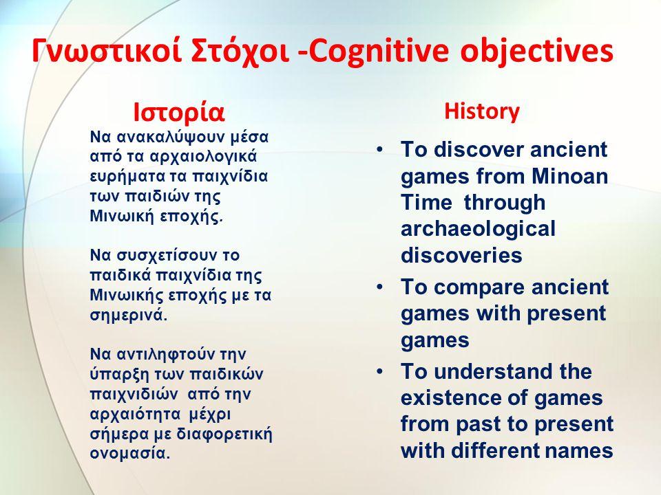 Γνωστικοί Στόχοι -Cognitive objectives Ιστορία Να ανακαλύψουν μέσα από τα αρχαιολογικά ευρήματα τα παιχνίδια των παιδιών της Μινωική εποχής.