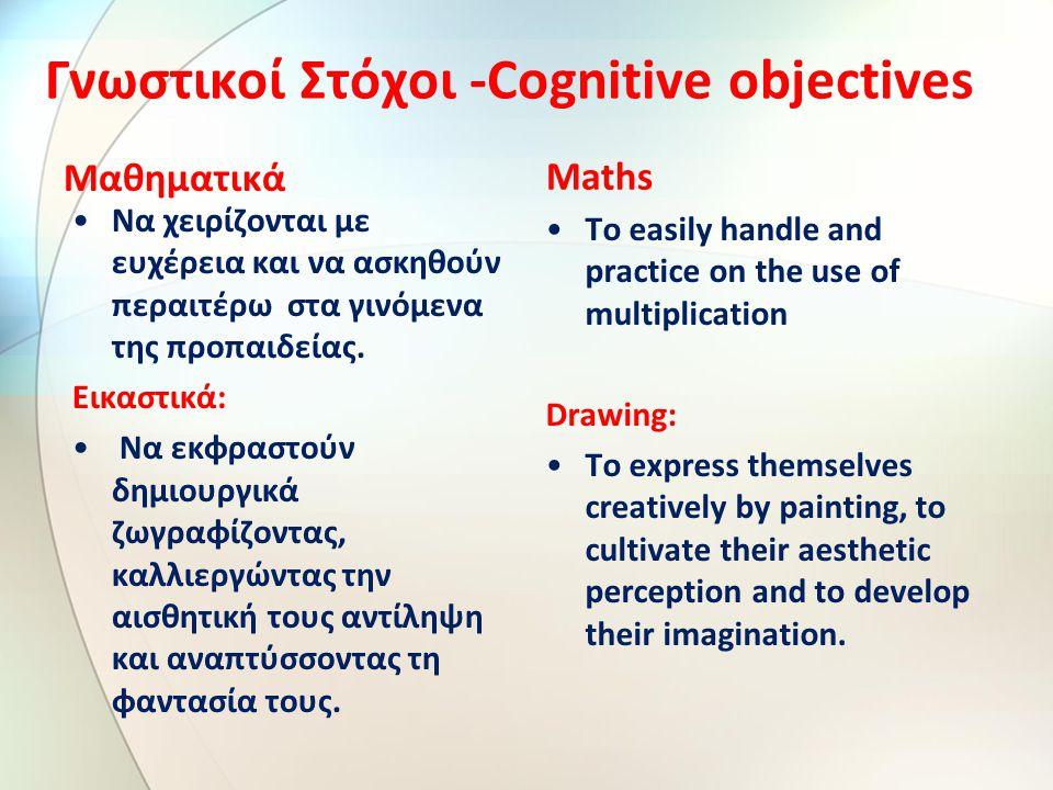 Γνωστικοί Στόχοι -Cognitive objectives Μαθηματικά Να χειρίζονται με ευχέρεια και να ασκηθούν περαιτέρω στα γινόμενα της προπαιδείας.